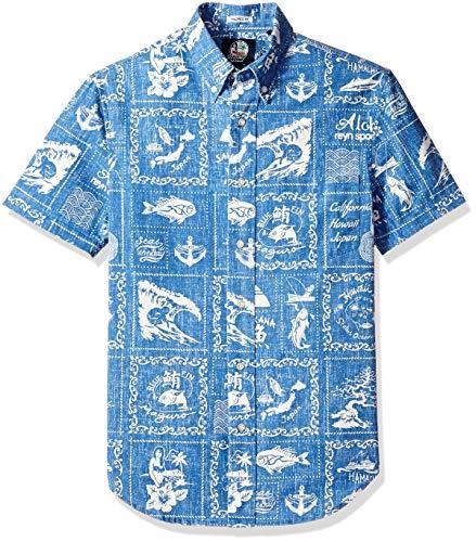 - Reyn Spooner Men's Stories from The East Spooner Kloth Tailored Hawaiian Shirt, Marine, XS