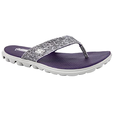 latest aliexpress recognized brands Skechers Ladies go Flow Grey/Purple Flip Flops