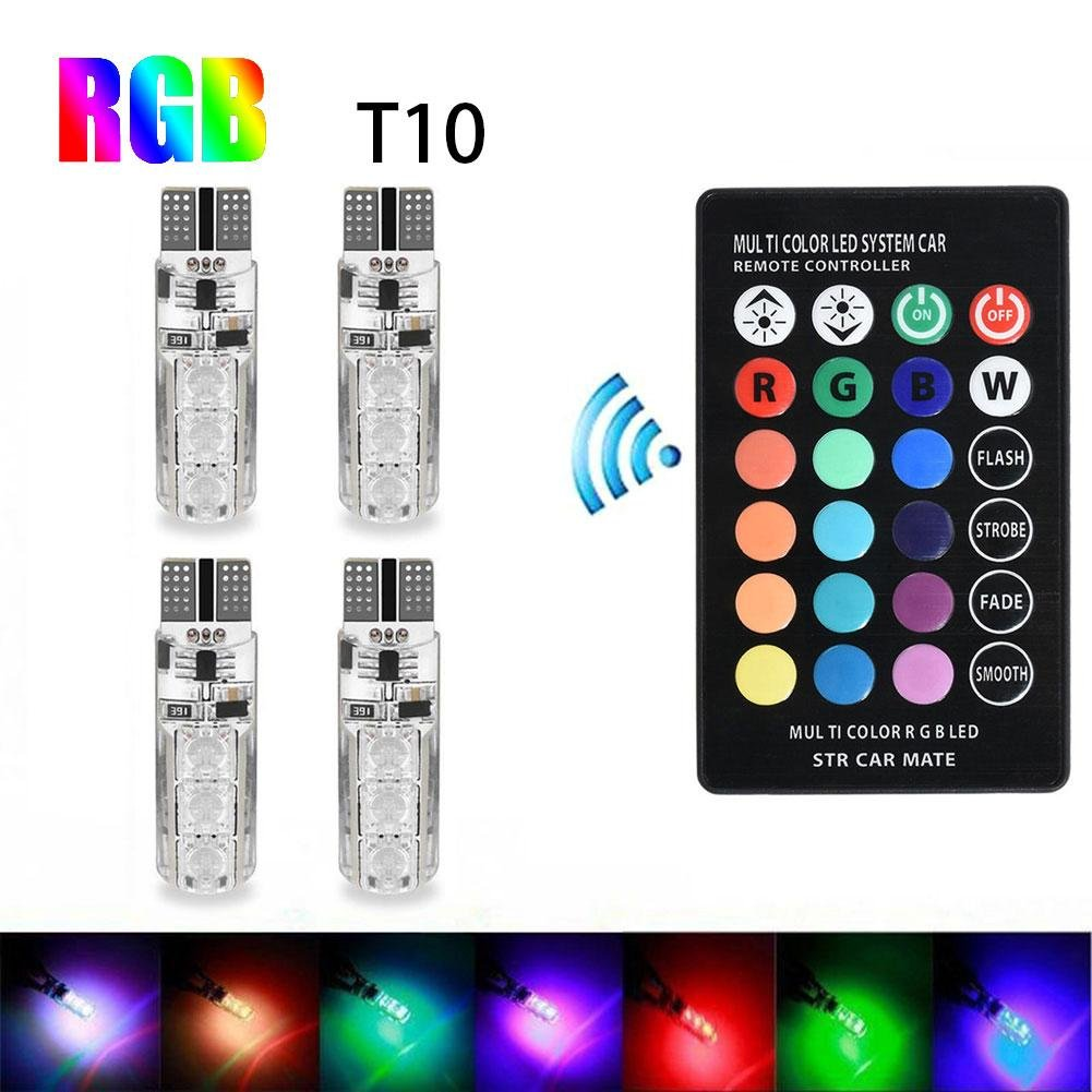 RUNGAO 4 piezas T10 6SMD 5050 RGB coloridas luces de coche LED bombillas con mando a distancia