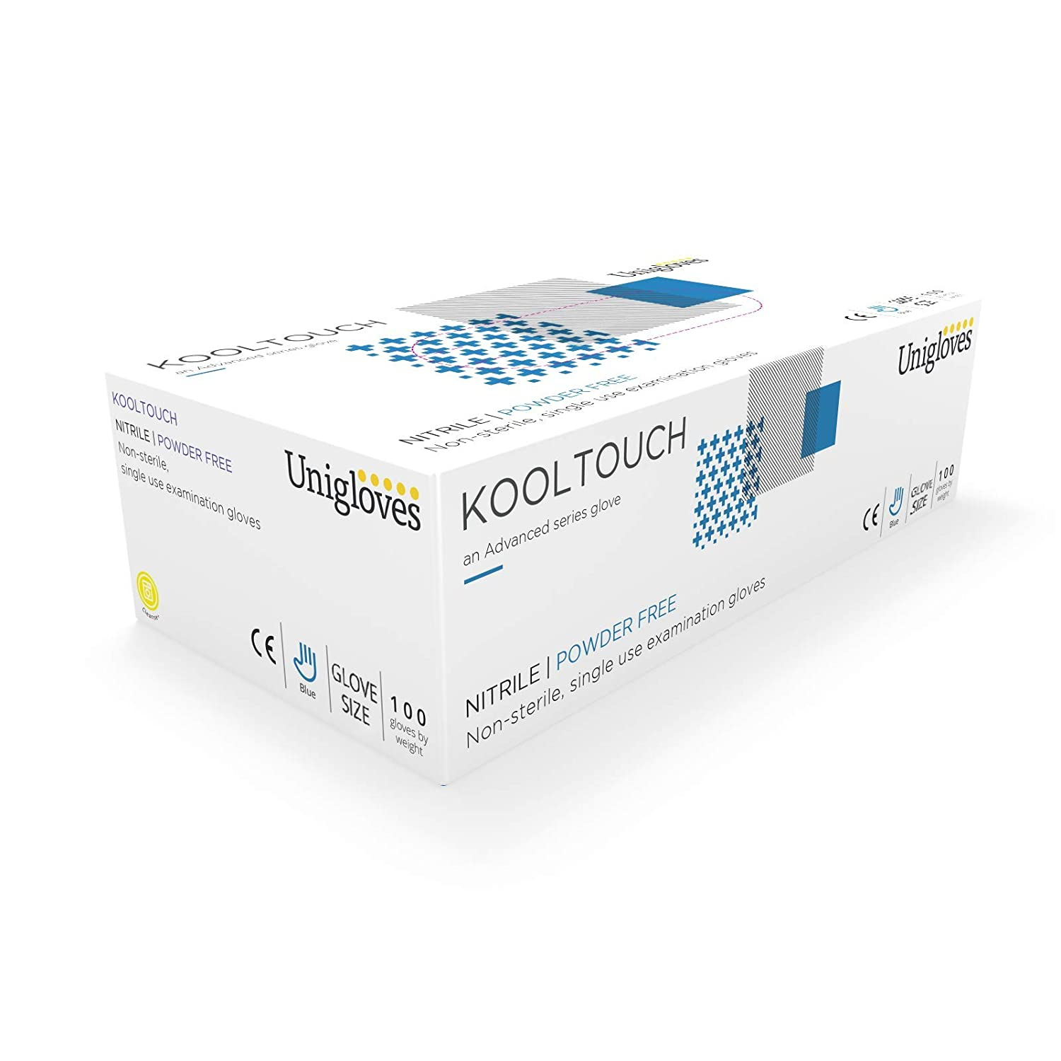 Unigloves GM0041 Kool touch Powder Free Nitrile Gloves, X-Small, Blue (Pack of 100)