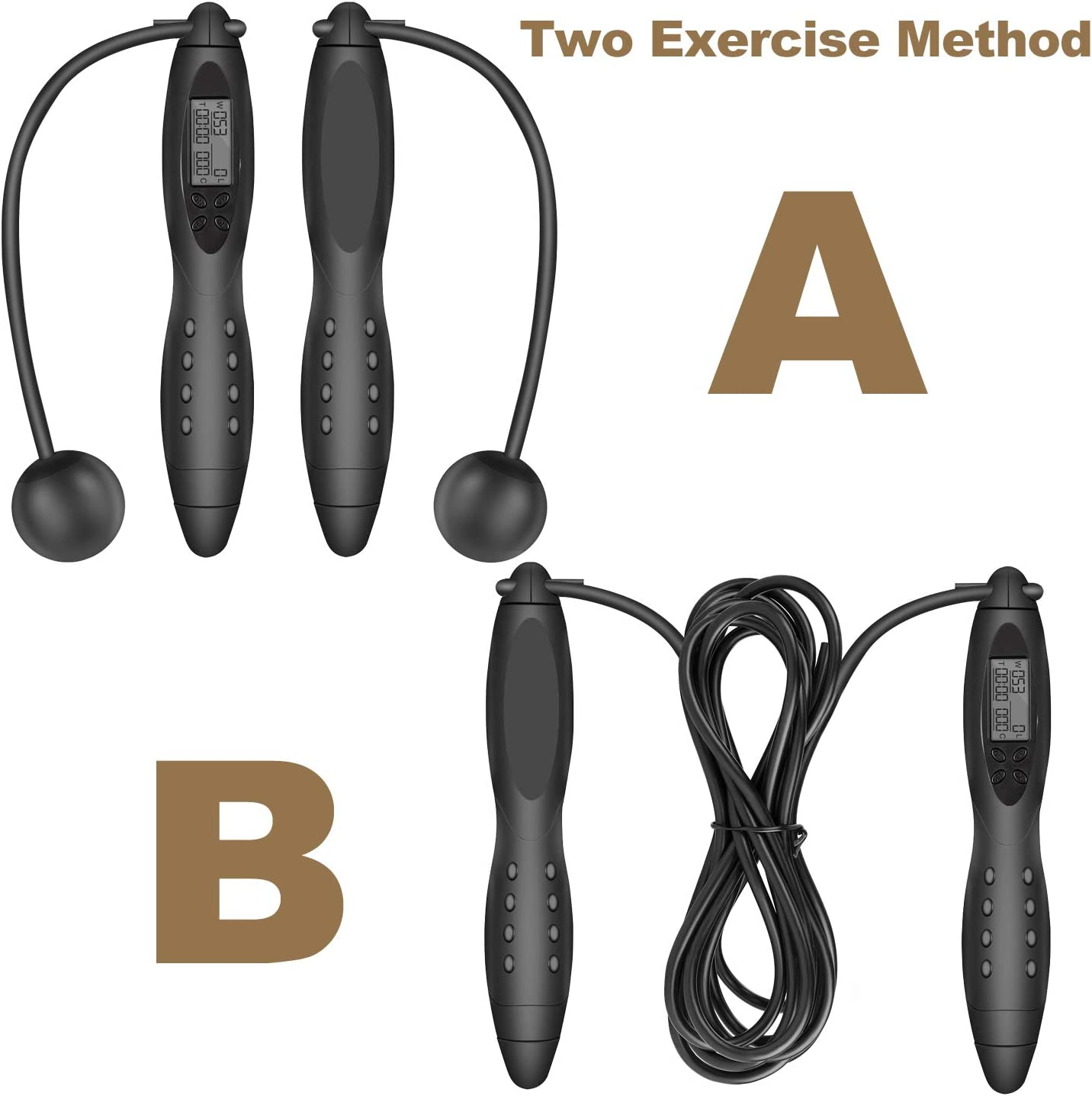 Adjustable Calorie Counter Jump Skipping Ropes Fitness Workouts Fat Burning Exercises Boxing Speed Jump Rope Tangle-free Adjustable Rope /& Digital Jump Rope TOQIBO Skipping Rope