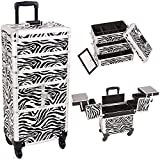 Sunrise I3364ZBWH Zebra 3 Tiers Accordion Trays Professional Rolling Aluminum Cosmetic Makeup Craft Storage Organizer Case and Stackable Trays with Dividers