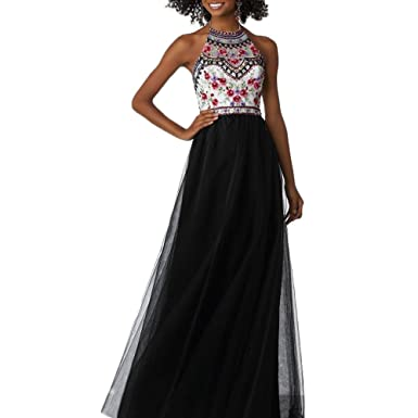 YUOHT Halter Organze Beaded A-Line Floral Gril Ball Dress Long Evening Party Prom Dress
