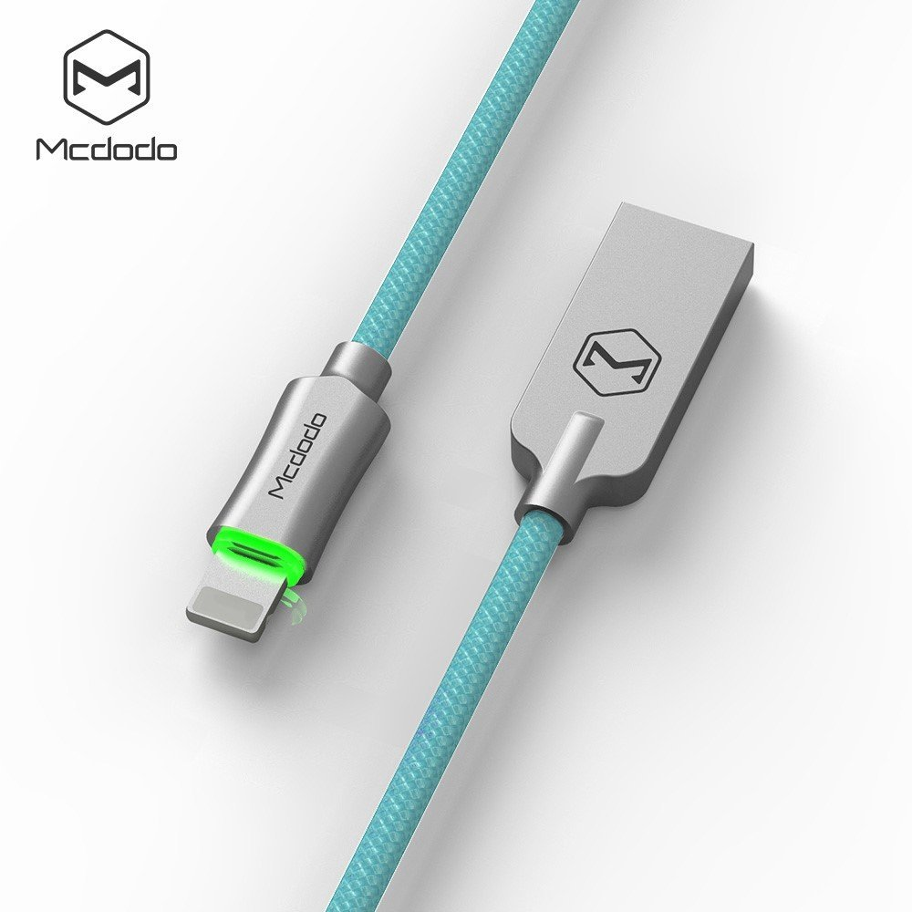 Mcdodo iPhone Smart LED Auto Disconnect Lightning nylon Braided 4FT/1.2M Sync Charge USB Data Cable For iPhone 8/8 Plus X 7/7 Plus, 6/6 Plus, 6s/6s Plus, 5s/5c/5, iPad Pro/Air /mini ,iPod (Blue) by MCDODO (Image #1)
