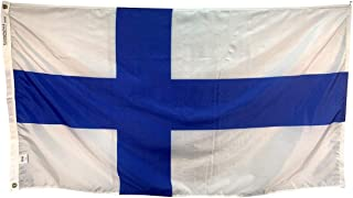 product image for 4x6' Finland Flag - Durable and Fade Resistant All Weather Nylon, with Canvas Header and Brass Grommets, 4 Rows of Fly End Stitching, Made in USA