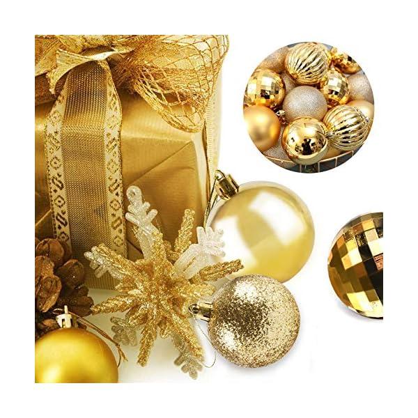 Funmo Palline di Natale, Set di 34 Palle di Natale, Palline di plastica per Alberi, Albero di Natale Deco Appeso, addobbi Natalizi nei ristoranti per Feste, Oro, 6cm 5 spesavip