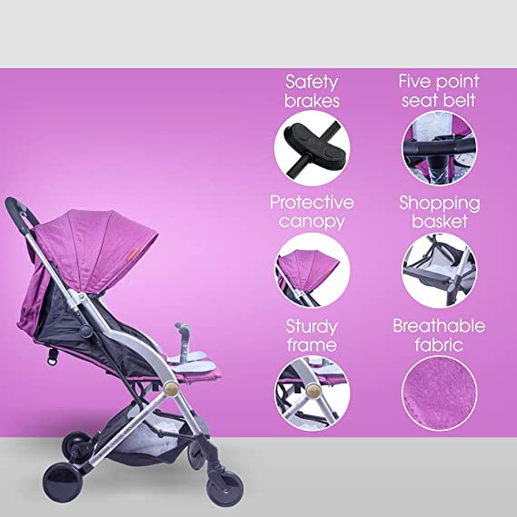 Tector Joie One-Click-Fold Baby Stroller / Buggy (Purple) - Pouch Series
