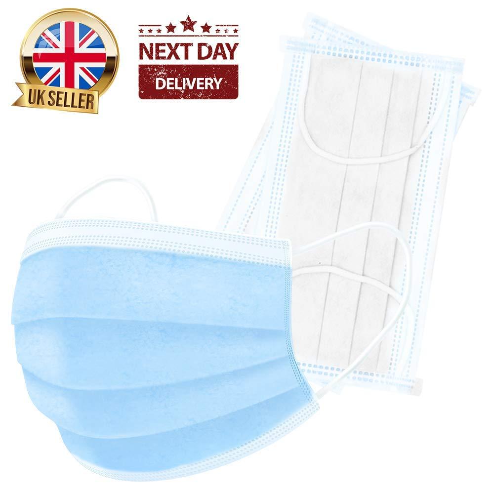 (Paquete De 50) Máscara De Seguridad Médica De 3-capas - Protección Para El Oído Máscaras De Polipropileno Azul Stock Del Uk