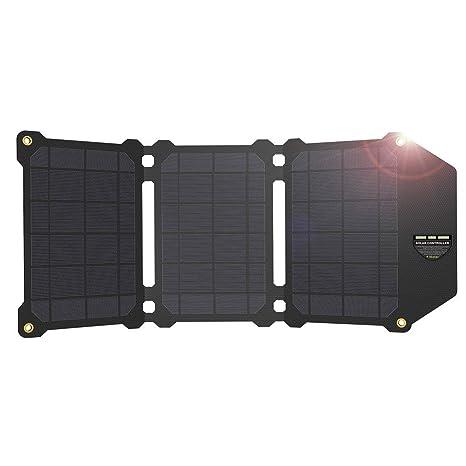 QETU Panel Solar 21W, Cargador de Teléfono Móvil Cargador de ...
