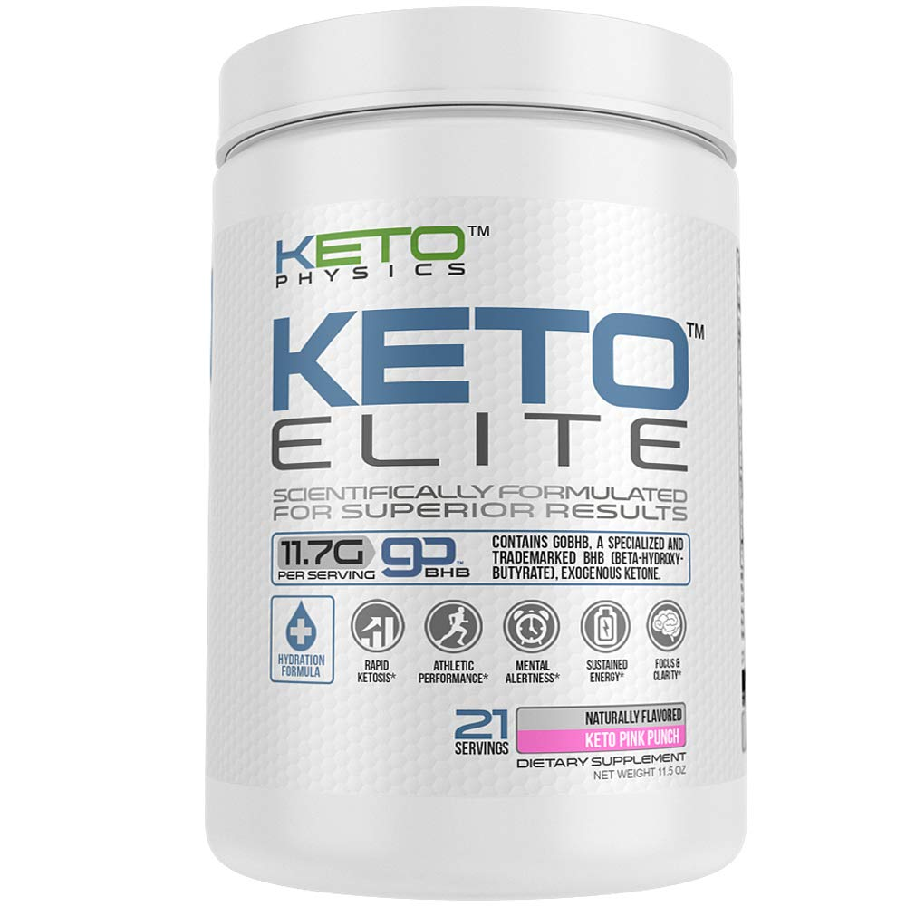 Exogenous Ketones Supplement | Large 21 Servings | Keto Elite | Rapid Ketosis | with Electrolyte Blend & Organic Caffeine | 100% Pure - Zero excipients | BHB Beta-Hydroxybutyrate | Keto Pink Punch by Keto Physics