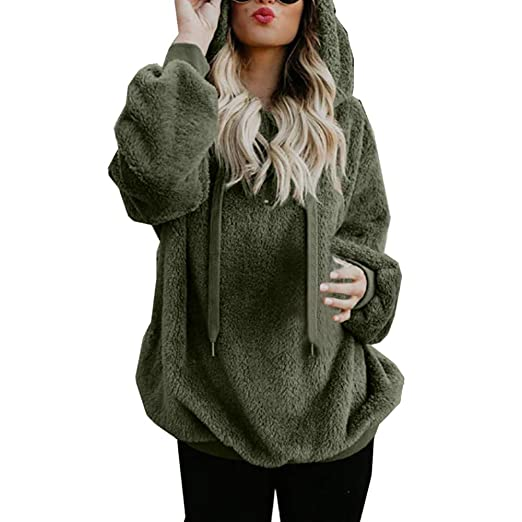 COOKI Women Fall Clothing Long Sleeve Hooded Fleece Sweatshirt Warm Fuzzy  Zip Up Hoodie Pullover Tops 219d09e781