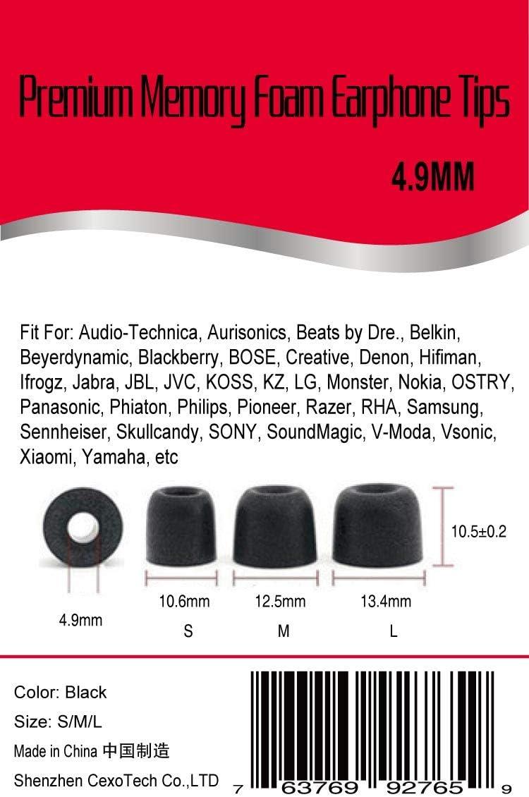 Blue Earlife EL-400 3 Pairs//Set 4.9mm Premium Memory Foam Earbuds Noise Isolating in-Ear Earphone Headphone Earbud Eartips T400 for jabra