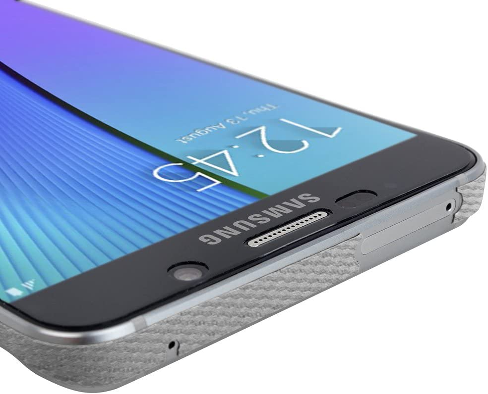 Skinomi Silver Carbon Fiber Full Body Skin Compatible with Samsung Galaxy Note 5 TechSkin with Anti-Bubble Clear Film Screen Protector Full Coverage