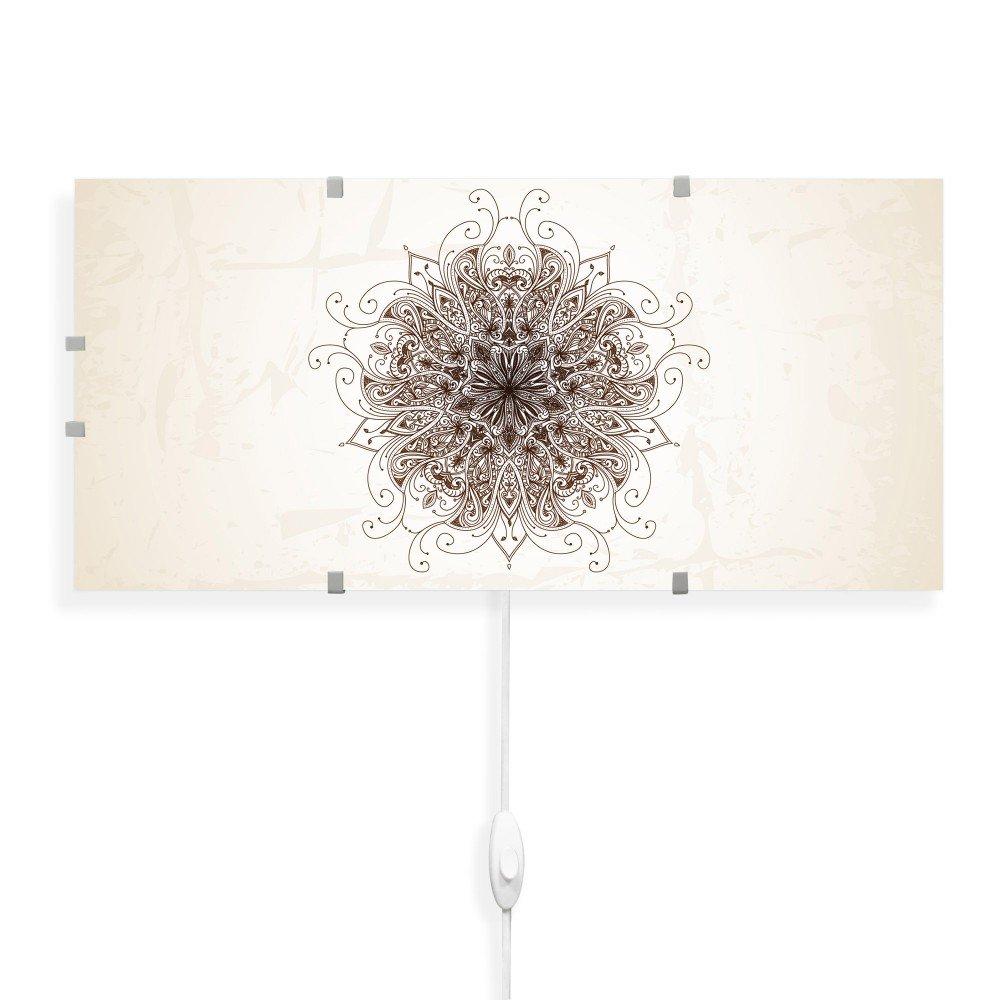 Banjado Glas Wandleuchte| Wandlampe 56cm x 26cm| Design LED Leuchte innen| Wandbeleuchtung mit Schalter| Leuchte mit Motiv Mehendi ohne Leuchtmittel