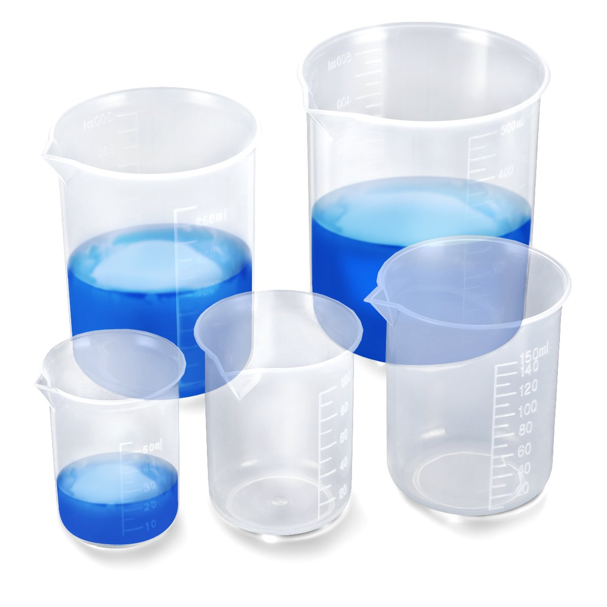 EFANTUR 5pcs Plastic Graduated Beakers 50ml 100ml 150ml 250ml 500ml(Transparent) tianjin boge kejiyouxiangongsi