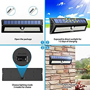 Litom 77 LEDs Solar Light, Super Bright Outdoor Solar Wall Lights with Motion Sensor & Great Waterproof, Security Wireless Nightlight for Garden Patio Path Back Yard (2 Pack)