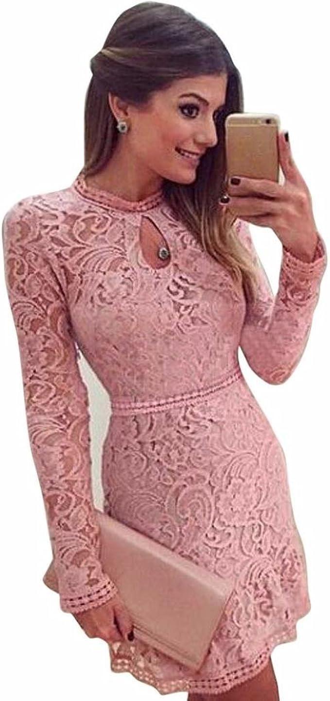 Damen Kleider, GJKK Damen Reizvolle Rosafarbene Hohle Spitze Langarm  Rundhals Dünnes Kleid Partei Abend Kleid Frauen Enges Kleid Elegant  Abendkleid