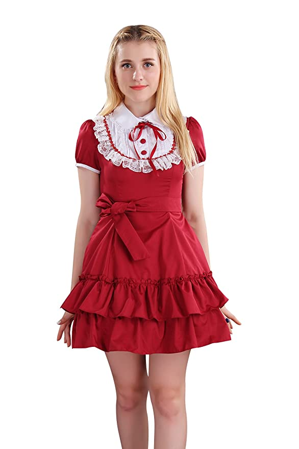 Vintage Style Children's Clothing: Girls, Boys, Baby, Toddler Nuoqi Lolita Sweet Princess Summer Dresses Japanese Maid Lace Short Sleeve Dress $69.99 AT vintagedancer.com