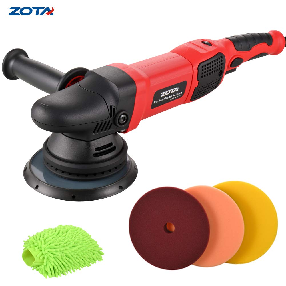 ZOTA Polisher, 21mm Long-Throw Upgraded Random Orbital Polisher, 6.5'' Dual Action Car Buffer kit with 3 Professional Pad and Car Wash Mitt.
