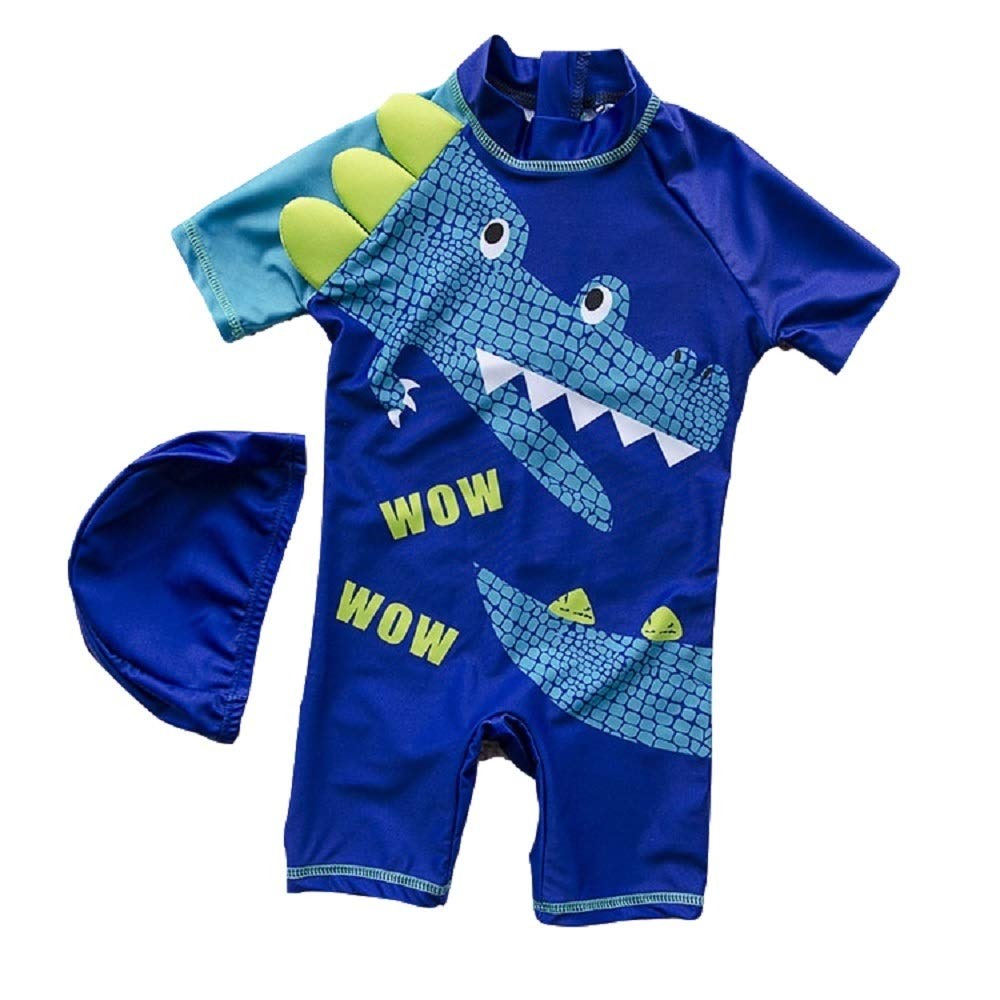 Yunqir Kids Wetsuit 2 Pcs Children's One Piece Swimsuits Kids Crocodile Patterns Sunscreen Wetsuit for Water Sports(Dark Blue)