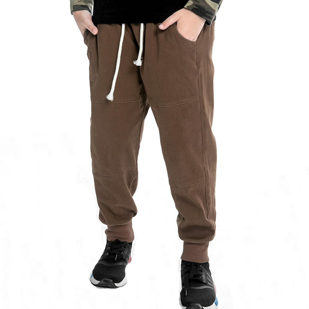 Y·J Back home Chino Pant for Boys,Boys Slim Twill Chino Jogger Pant Kids Cotton Trousers with Drawstring(3-8 Years),7/8T,Brown