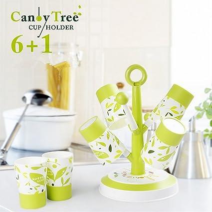 ELINKUME arbre-forme agua taza de taza de café Drain portavasos Etendoir con bandeja redonda