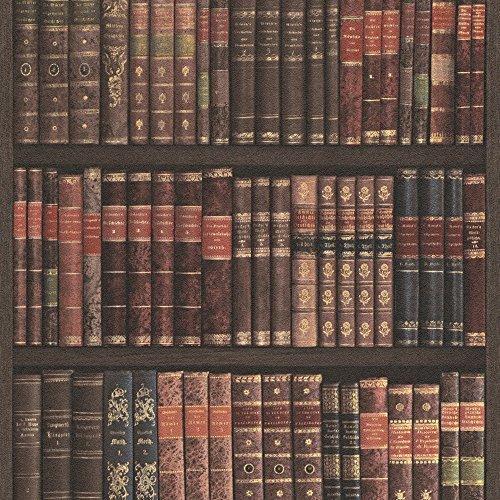 Rasch Book Shelf Pattern Wallpaper Books Case Library Faux Effect Burgundy 525809