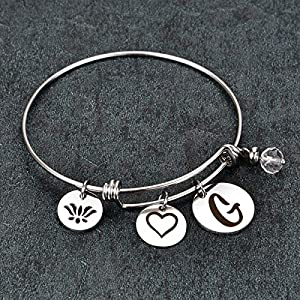JantoDec Initial Bangle Bracelet for Women Expandable Wire Bracelet Jewelry with Letter G