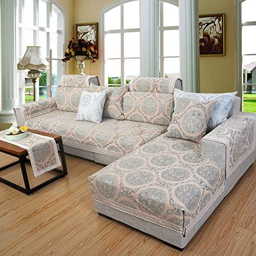 Chenille Cotton Sofa cover Jacquard Lace Sofa slipcover European style Couch cover Furniture protector Multi-size sectional sofa cushion -Khaki 120x200cm(47x79inch)