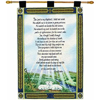 Manual Inspirational Collection 26 X 36-Inch Wall Hanging and Finial Rod, 23rd Psalm