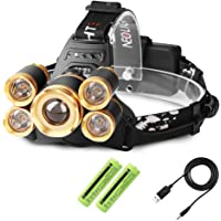 LED Headlamps, Neolight Super Bright 5 CREE LED 8000 Lumens Rechargeable Zoomable Waterproof Head torch Headlight for Outdoor Hiking Camping Hunting Fishing Cycling Running Walking (Glod)