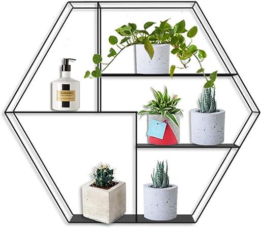 Estante metálico Hexagonal de Pared para hogar y Oficina ...