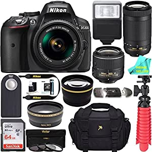 Nikon D5300 24.2 MP DSLR Camera AF-P DX 18-55mm & 70-300mm NIKKOR Zoom Lens Kit + 64GB Memory Bundle + Photo Bag + Wide Angle Lens + 2x Telephoto Lens+ Flash+ Remote+Tripod+Filters ? Seller Cloth