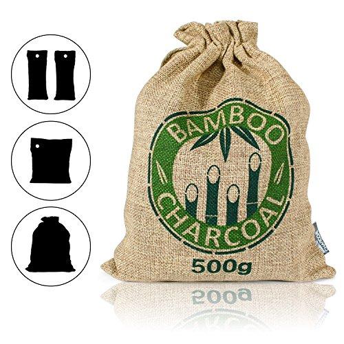 Amazy Bambus Lufterfrischer mit Aktivkohle - Vielfältig einsetzbarer Luftreiniger für Wohnzimmer, Schlafzimmer, Küche, WC, Auto etc. - Schadstofffrei und 100 % biologisch abbaubar (500g | Braun)