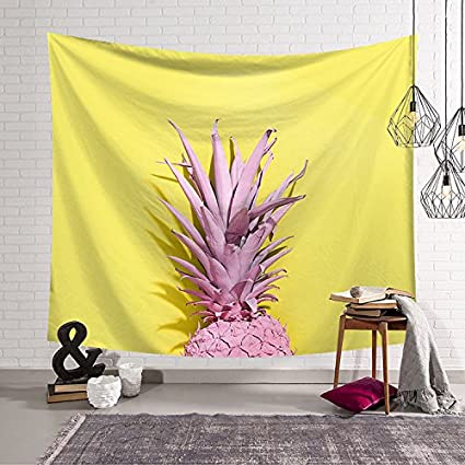 Amazon.com: Pink Pineapple Head with Yellow Tapestry Wall Art ...