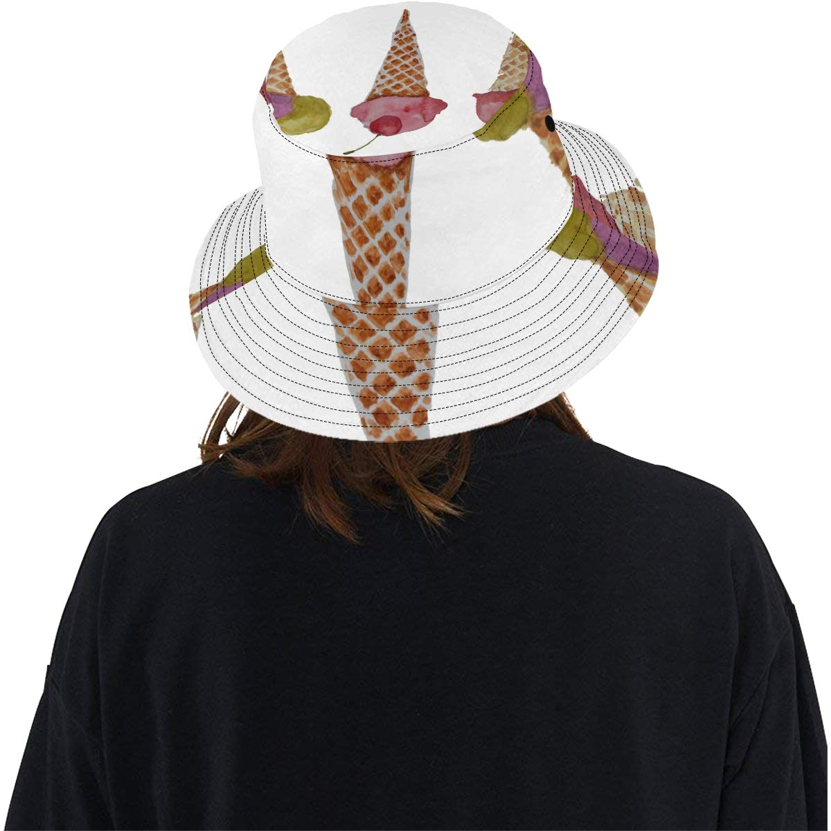 Carton Ice Cream Cones New Summer Unisex Cotton Fashion Fishing Sun Bucket Hats for Kid Teens Women and Men with Customize Top Packable Fisherman Cap for Outdoor Travel