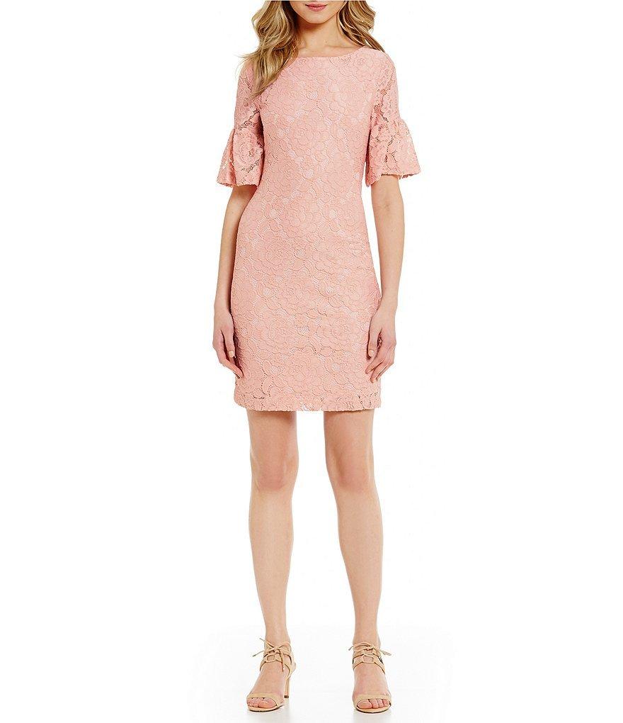 Ivanka Trump Ruffled Bell Sleeve Pink Overlay Lace Dress Sz 4