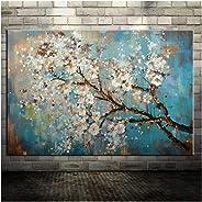 HYFBH Flores pintadas a Mano y árboles Dibuje Pinturas al óleo de Morden en Lienzo Cuadros de Pared para la decoración del h