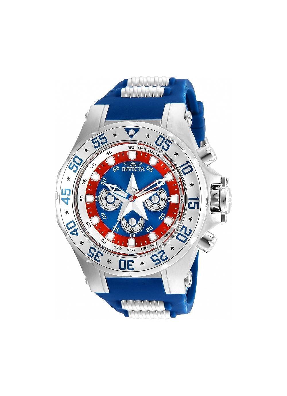Invicta Men 's 25685 Marvelクオーツクロノグラフブルーダイヤル腕時計 B07DX63ZS6