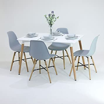 P N Homewares Enzo Dining Table Chairs Set 4 Chairs 1 White Dining