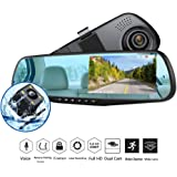 """Dash Cam 1080P Full HD 4.3"""" LCD Mirror Car Video Recorder Dual Lens Vehicle Camera Car DVR Road Dash Cam with Night Vision Motion Detection"""