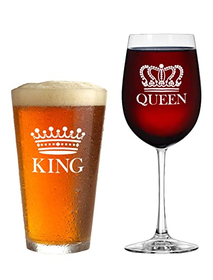 Amazon Com King Beer Queen Wine Glass Set Of 2 Gift For Couples
