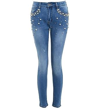 SS7 Femmes Denim Jeans Slim Perle Jean Plus Size 38-48 Nouveau  Amazon.fr   Vêtements et accessoires 673c65568b89