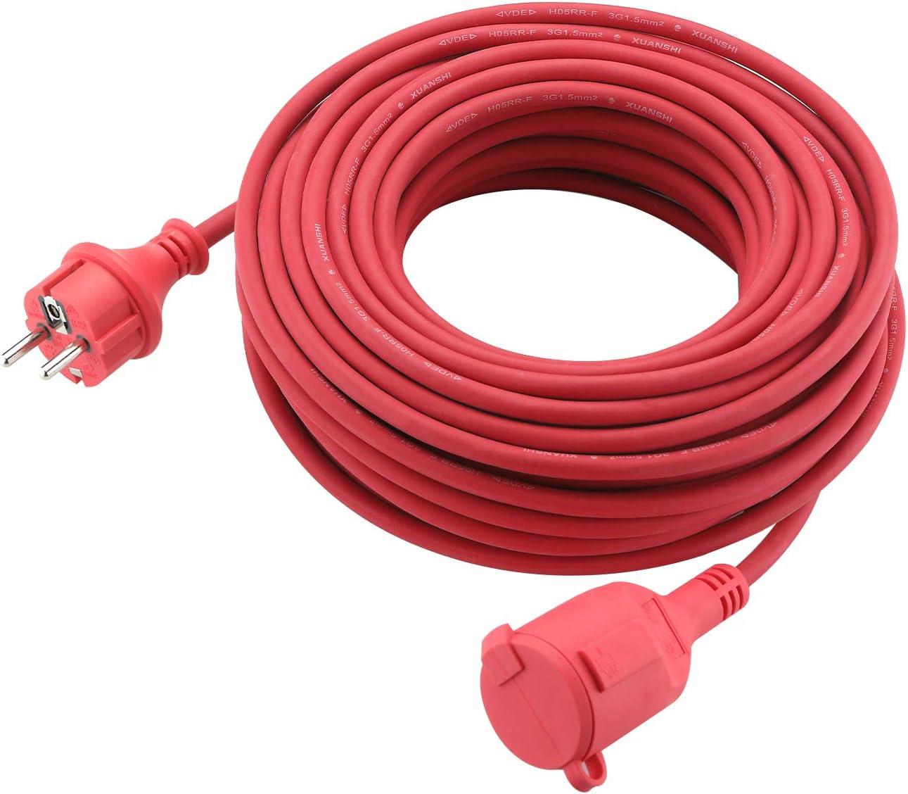 Verl/ängerungskabel Schuko Verl/ängerung Gummi Kabel f/ür den Au/ßenbereich IP44 H05RR-F 3G 1,5mm 5M, Rot