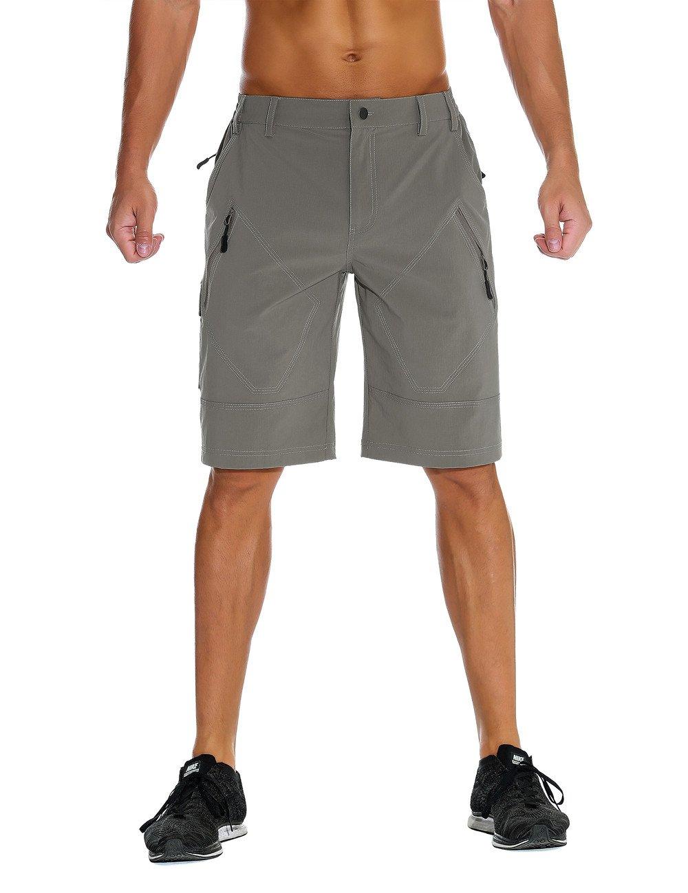 Unitop Men's Lightweight Quick Dry Hiking Cargo Shorts Light Gray 38