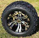 10'' VAMPIRE Machined/Black Golf Cart Wheels and 18x9-10 DOT All Terrain Golf Cart Tires Combo - Set of 4 (Fits All Carts!)