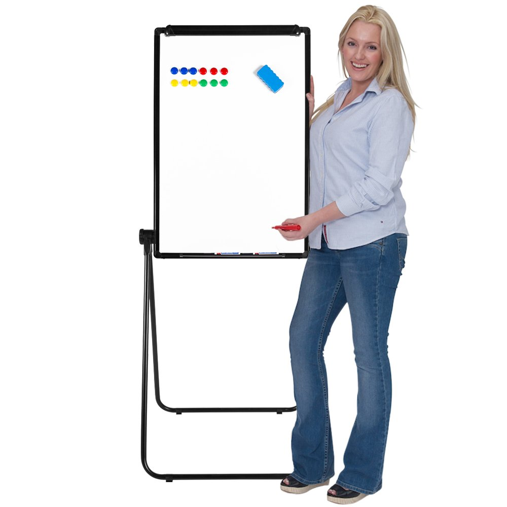 NEUTYPE Foldable U-Stand Whiteboard (36'' x 24'') Double-Sided Magnetic Dry Erase Board with Free Eraser/Markers/Magnets- Perfect for Teaching/Painting/Doodle
