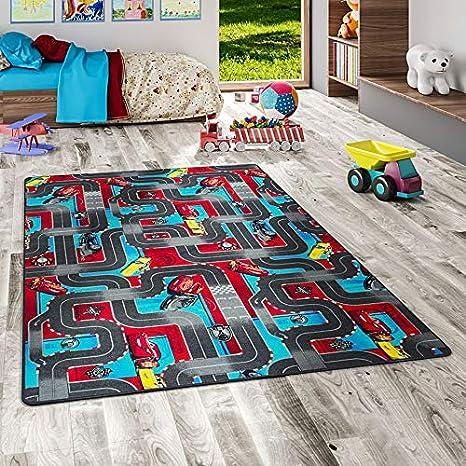 Snapstyle Alfombra Carretera Infantil de Juegos Disney Cars - Velour - Rojo y Turquesa - 17 Tamaños