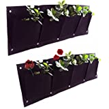 Kisstaker 4 Pockets Wall Haning Felt Planter Bags Indoor Outdoor Plant Growing Bag with a Box Opener