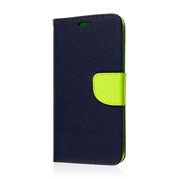 online retailer a89f1 b613d MPERO Samsung Galaxy S6 Edge Plus Wallet Case, [Flex Flip 2] Stand Cover  with Card Slots and Wrist Strap (Blue/Neon Green)